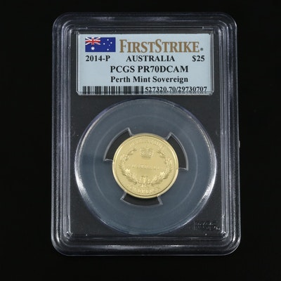 PCGS Graded PR70DCAM 2014-P Australia $25 Gold Sovereign Proof Coin