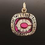 Cincinnati Reds 1990 World Champions 10K Diamond and Ruby Pendant
