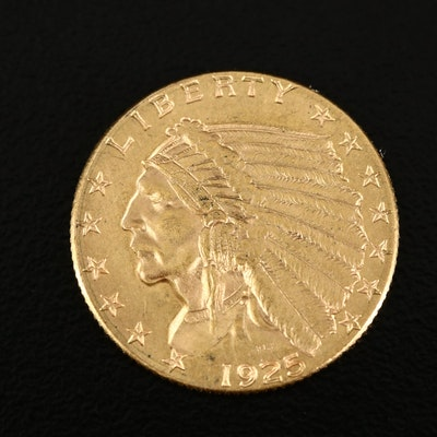 1925-D Indian Head $2.50 Gold Quarter Eagle Coin