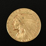 1911 Indian Head $2.50 Gold Quarter Eagle Coin