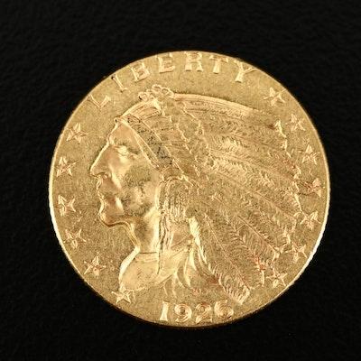 1926 Indian Head $2.50 Gold Quarter Eagle Coin