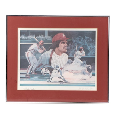 "Pete Rose Signed ""Hustle and Pride"" Limited Edition Offset Framed Lithograph"