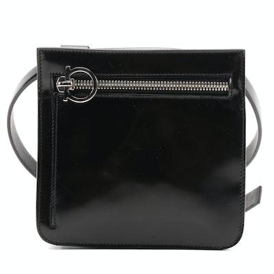 Salvatore Ferragamo Patent Leather Belt Bag in Black with Gancini Zipper Pull