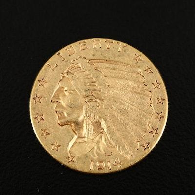 1914 Indian Head $2.50 Gold Quarter Eagle Coin