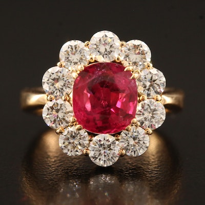 20K 2.70 CT Ruby and 1.90 CTW Diamond Ring with GIA Report