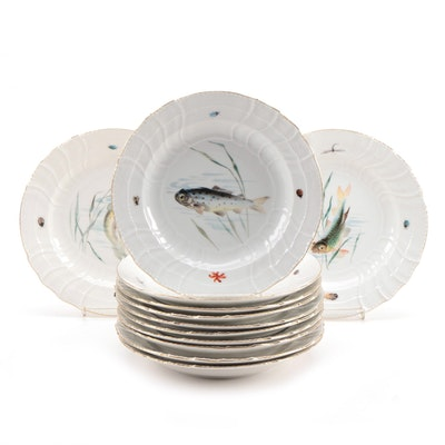 KPM Hand-Painted Porcelain Fish Dinner Plates, Early 20th Century
