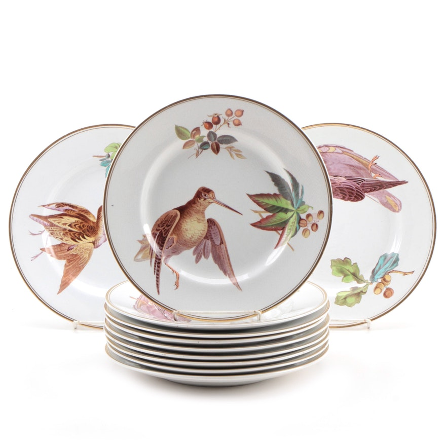 Pinder, Bourne & Co. Hand Colored Transferware Luncheon Plates, 1871