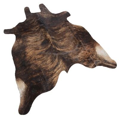 6'3 x 6'3 Natural Dark Brindle Cow Hide Area Rug