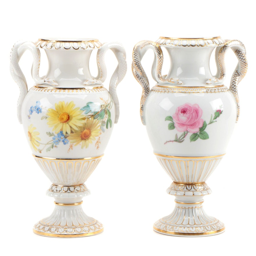 Pair of Meissen Porcelain Vases with Entwined Snake Handles