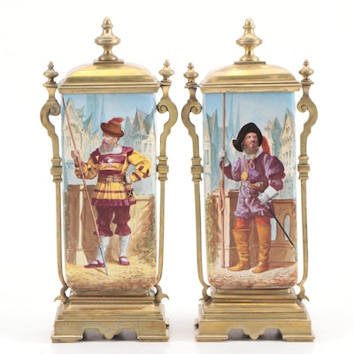 Pair of Continental Brass-Mounted Ceramic Clock Garnitures with Portraits