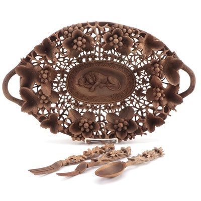 "Hand-Carved Black Forest ""Lion of Lucerne"" Tray with Serving Utensils"