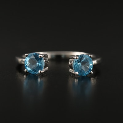 Sterling Silver Blue Topaz Open Shank Ring
