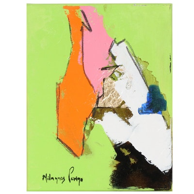 Milagros Pongo Abstract Mixed Media Painting with Gold Leaf, 21st Century