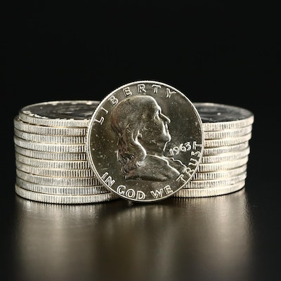 Roll of Twenty Uncirculated 1963-D Franklin Silver Half Dollars