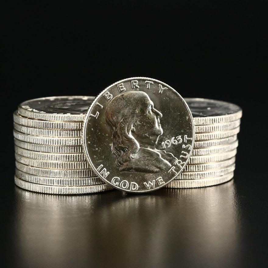 Roll of Twenty Uncirculated 1963-D Franklin Silver Half Dollars
