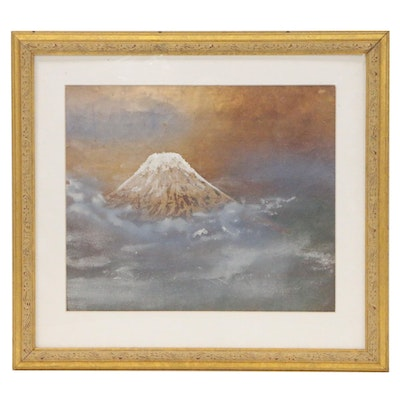Japanese Style Watercolor Mountain Landscape Painting, 20th Century