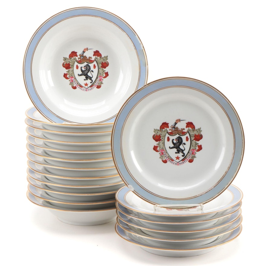 Chamberlain's Worcester Armorial Porcelain Dinner Plates and Soup Bowls
