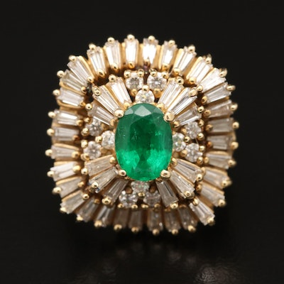 Vintage 14K 1.02 CT Emerald and 1.89 CTW Diamond Ballerina Ring