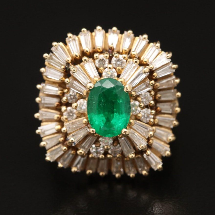 Vintage 14K 1.02 CT Emerald and 1.89 CTW Diamond Ballerina Ring