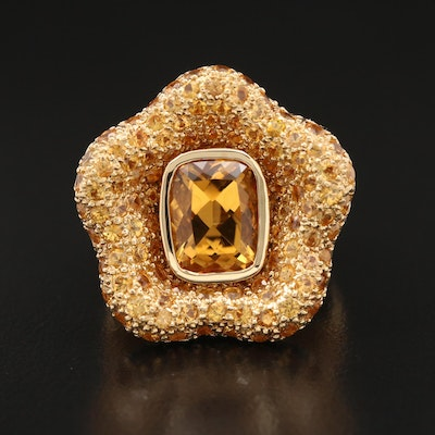 18K Pavé Citrine Star Ring