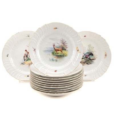 KPM for Au Vase Etrusque Porcelain Dinner Plates with Wild Game Scenes