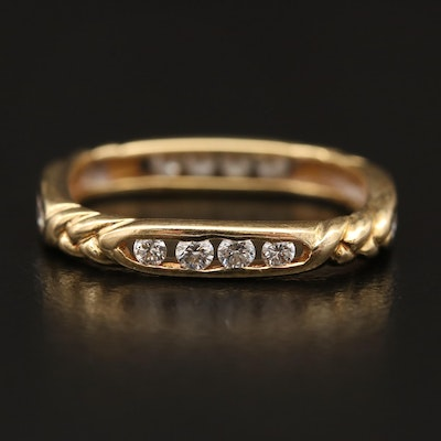 18K Channel Set Diamond Band with Squared Design