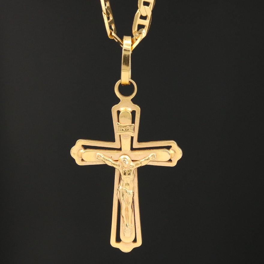 18K Crucifix Pendant Necklace