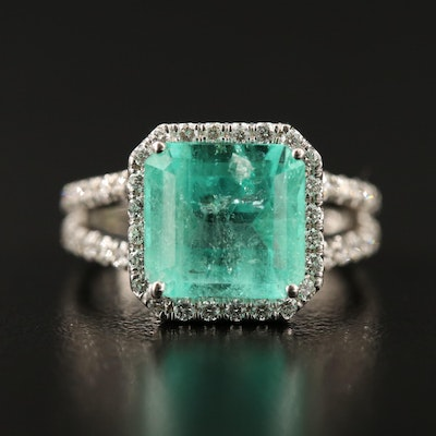 18K 4.02 CT Emerald and Diamond Ring Featuring Split Shank