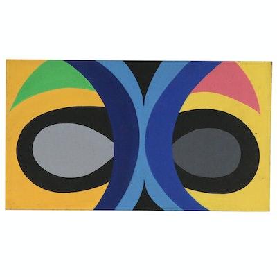 """Achillo """"Achi"""" Sullo Flat-Color Abstraction Oil Painting, circa 1972"""