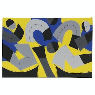 """Achillo """"Achi"""" Sullo Graphic Abstraction Acrylic Painting, Circa 1965"""