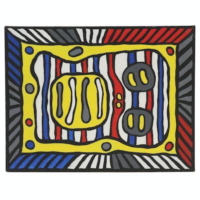 """Achillo """"Achi"""" Sullo Flat-Color Abstraction Oil Painting, circa 1969"""