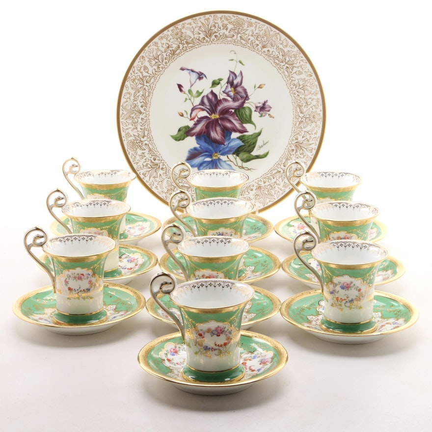 "Antique Minton Bone China Chocolate Cups and Boehm ""Clematis"" Plate"