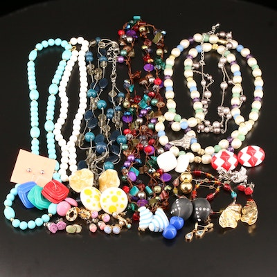 Assorted Necklaces and Earrings Including Sterling, Faux Pearl and Glass