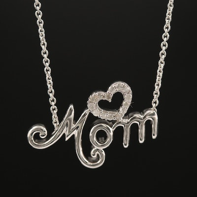 "Sterling Silver ""Mom"" with Diamond Heart Pendant Necklace"