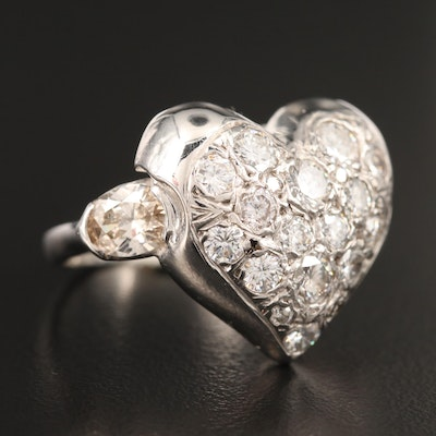 14K Pavé 3.52 CTW Diamond Heart Ring