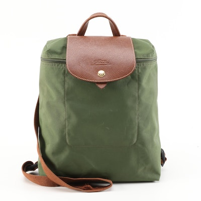 Longchamp Sac A Dos Nylon and Leather Backpack in Olive