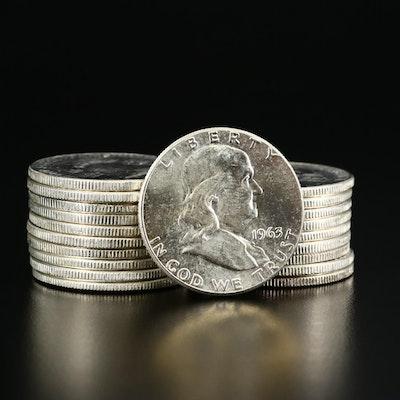 Roll of Twenty Uncirculated 1963 Franklin Silver Half Dollars