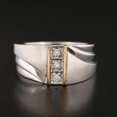 Sterling Silver Diamond Ring Featuring Ridged Design