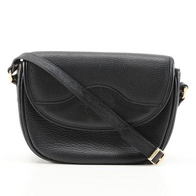 """Burberrys Black Leather and """"Haymarket Check"""" Lining Flap Front Shoulder Bag"""