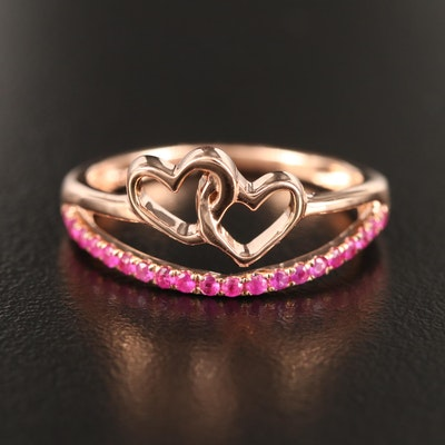 14K Rose Ruby Double Link Heart Ring