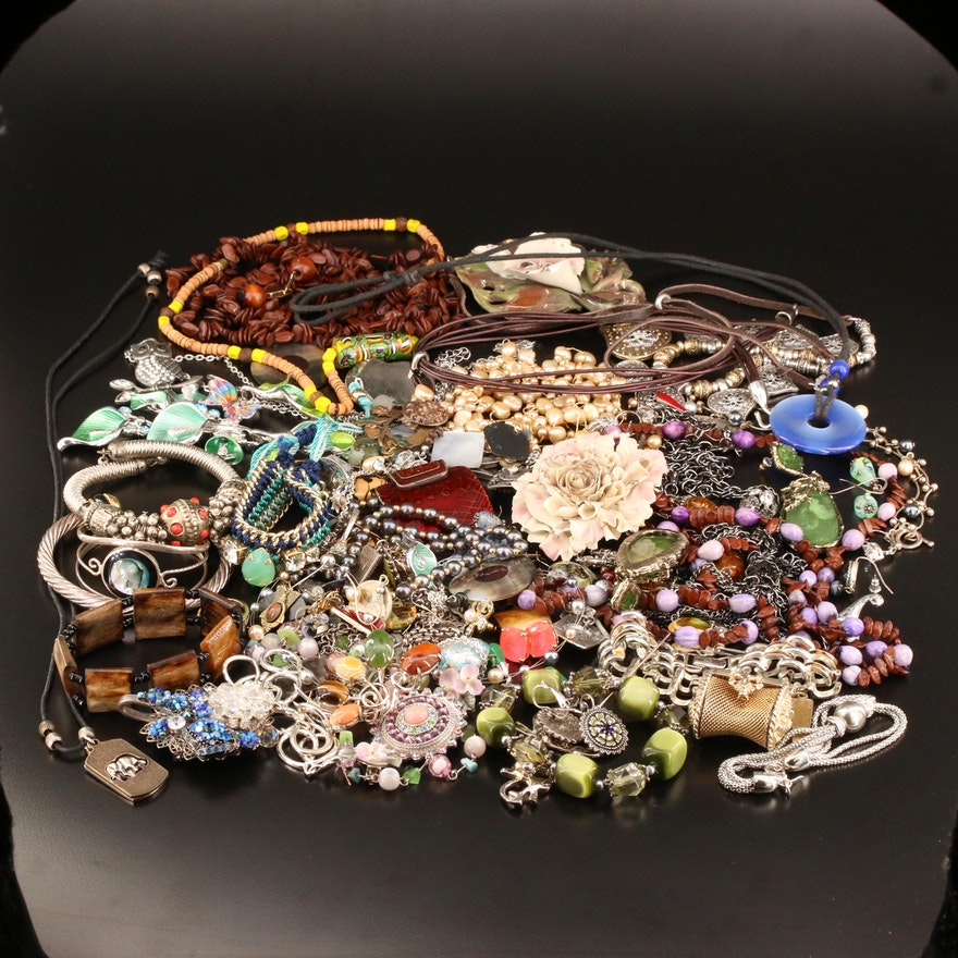 Extensive Jewelry Selection Featuring Art Glass, Rhinestones and Abalone