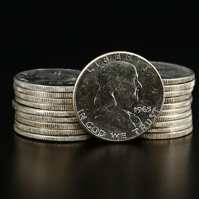 Roll of Twenty Uncirculated 1963 Franklin Silver Half Dollars