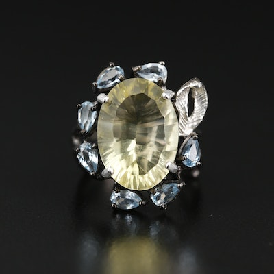 Sterling Silver Citrine and Topaz Foliate Ring