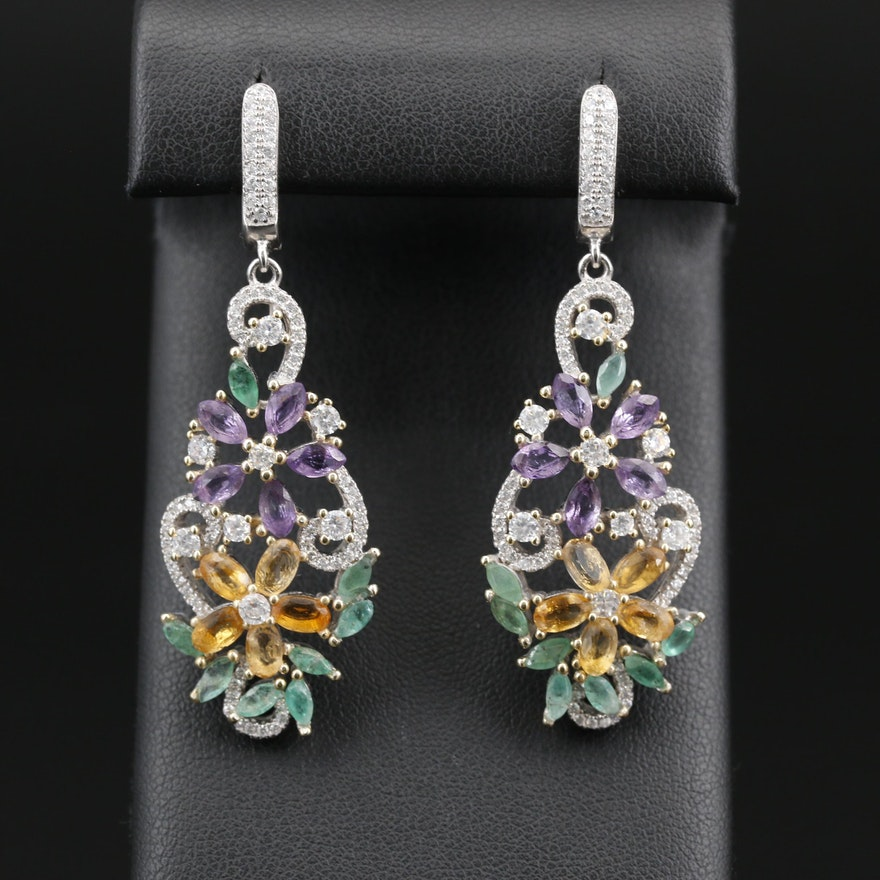 Sterling Silver Emerald and Citrine Floral Drop Earrings