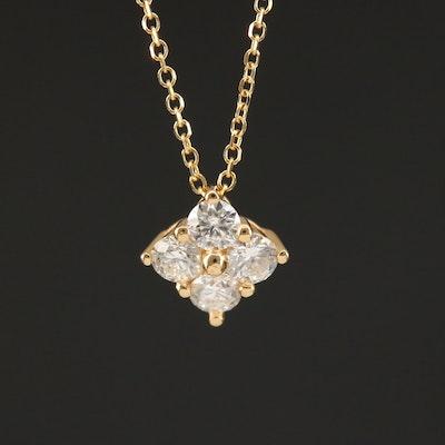 18K Diamond Quatrefoil Pendant Necklace