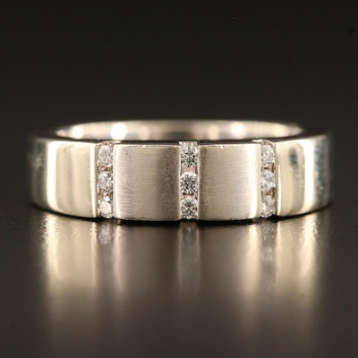 14K Diamond Band with Tension Settings and Brushed Finish