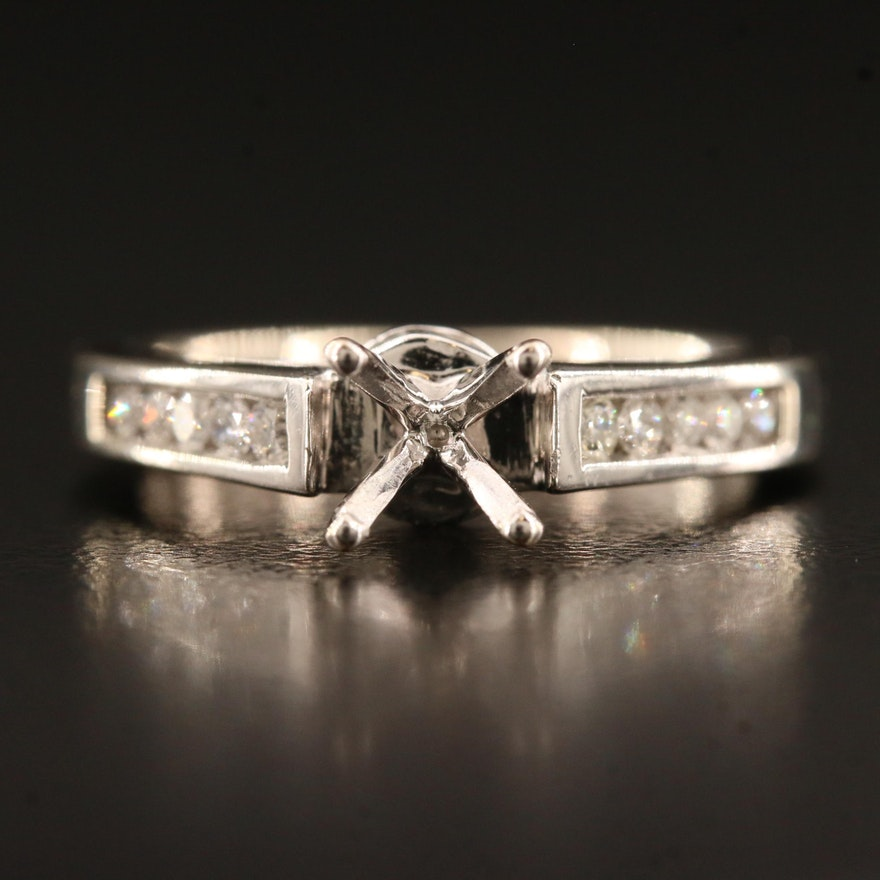 14K Cathedral Set Semi Mount Ring with Diamonds