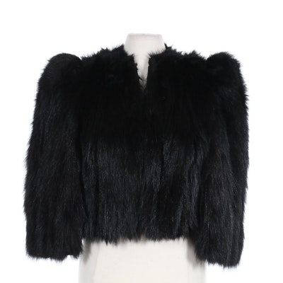 Black Bear Fur Cropped Jacket with Enhanced Shoulders, Vintage