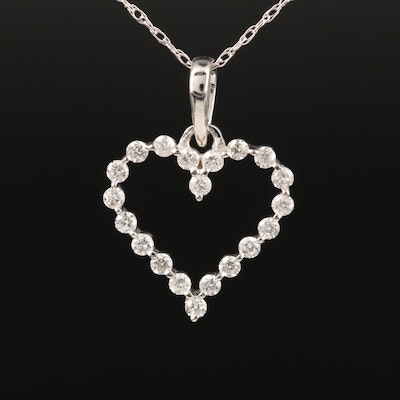 14K Diamond Heart Pendant Necklace