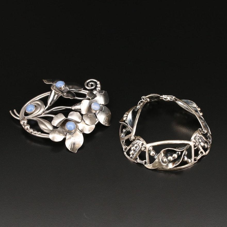Carl Art Sterling Silver Floral Brooch and Sterling Floral Bracelet